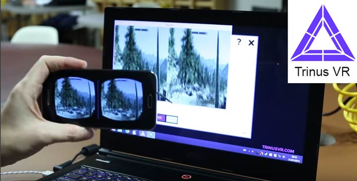 Trinus VR software streaming stereoscopic 3d output from a computer to a phone over wi-fi