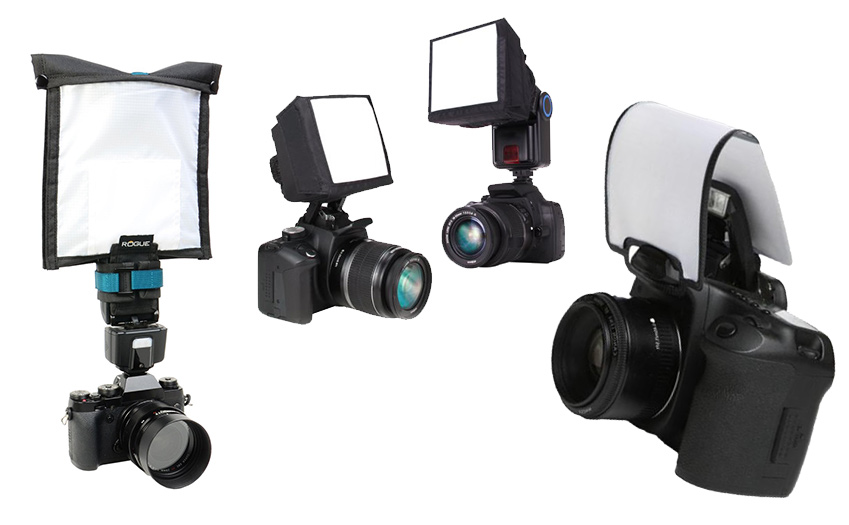 Here are cameras that have different types of flashes on them.