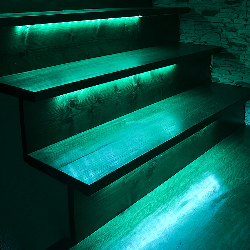 LED Lit Stairs