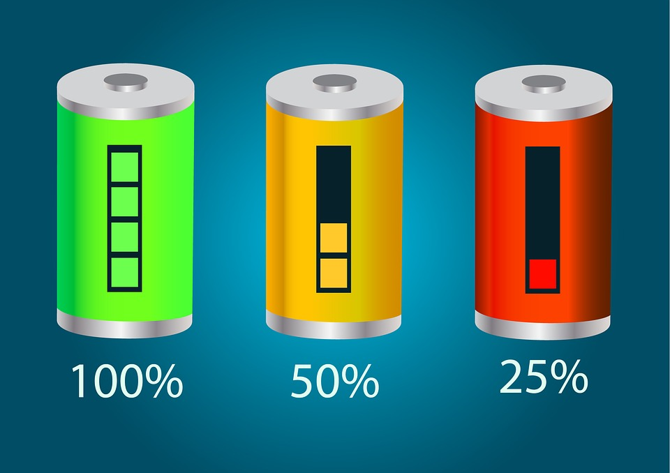 A battery meter at 100%, 50%, and 25%
