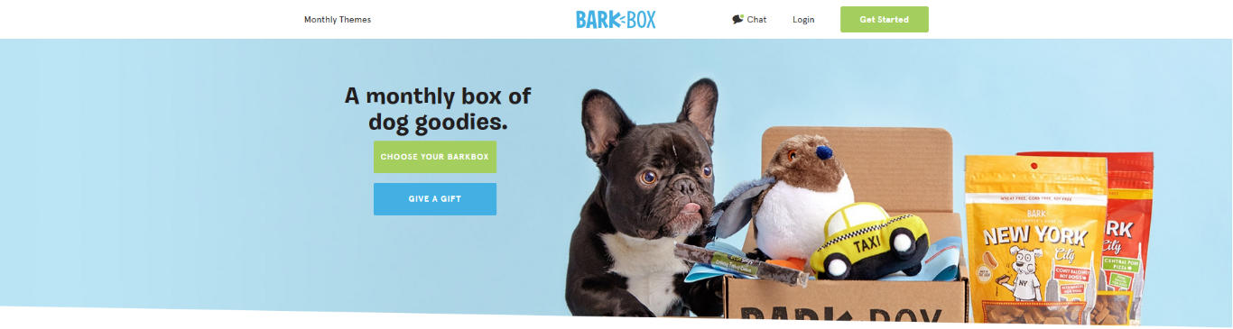 Barkbox's homepage, with a great example of a Call to Action
