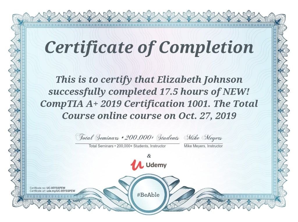 Elizabeth Johnson CompTIA A+ 1001 Certification