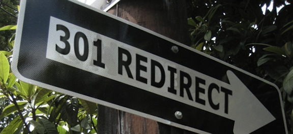 A street sign labeled 301 redirect