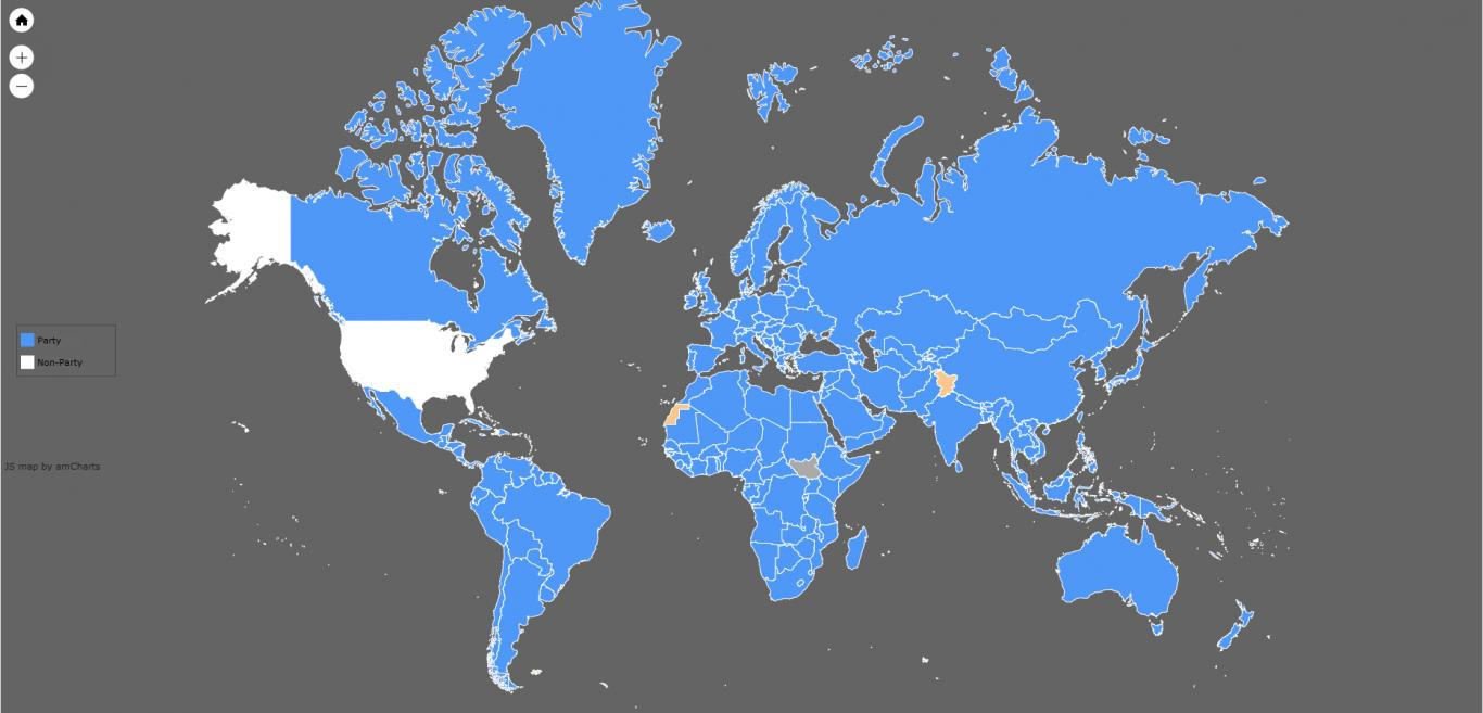 A map of the countries that have ratified the Basel Convention on hazardous waste.