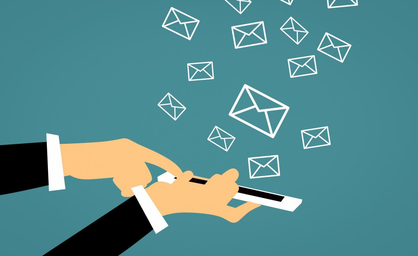 A vector style illustration of emails arriving on a smart phone.