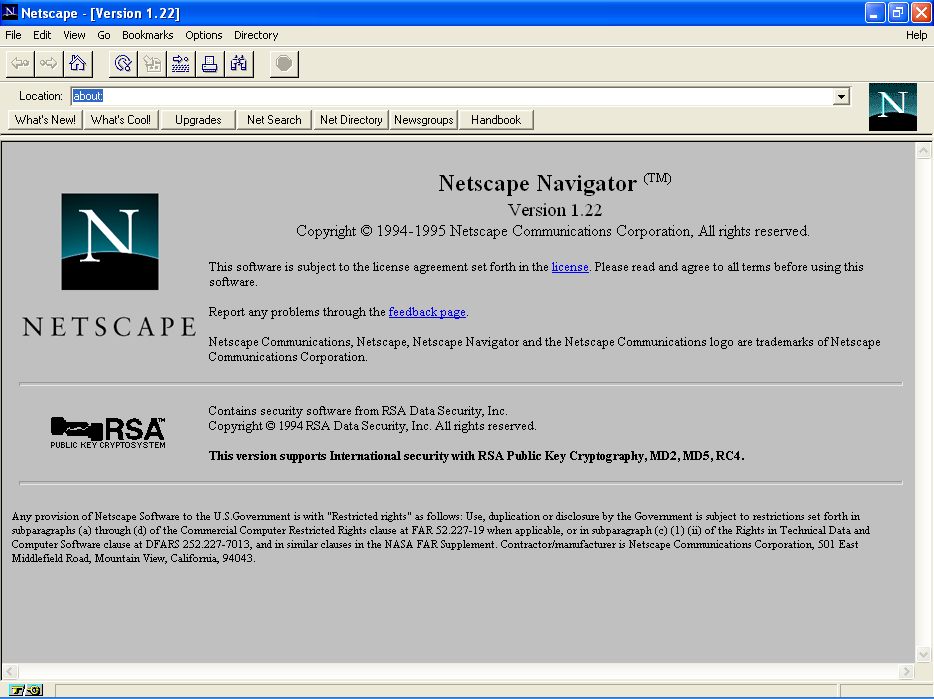 A screenshot of Netscape Navigator version 1.22