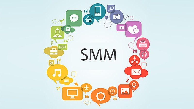Several social media-themed icons in a circle around the acronym SMM