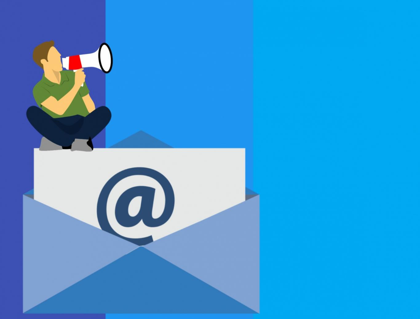 A vector style illustration of a man sitting on an email and shouting into a megaphone.