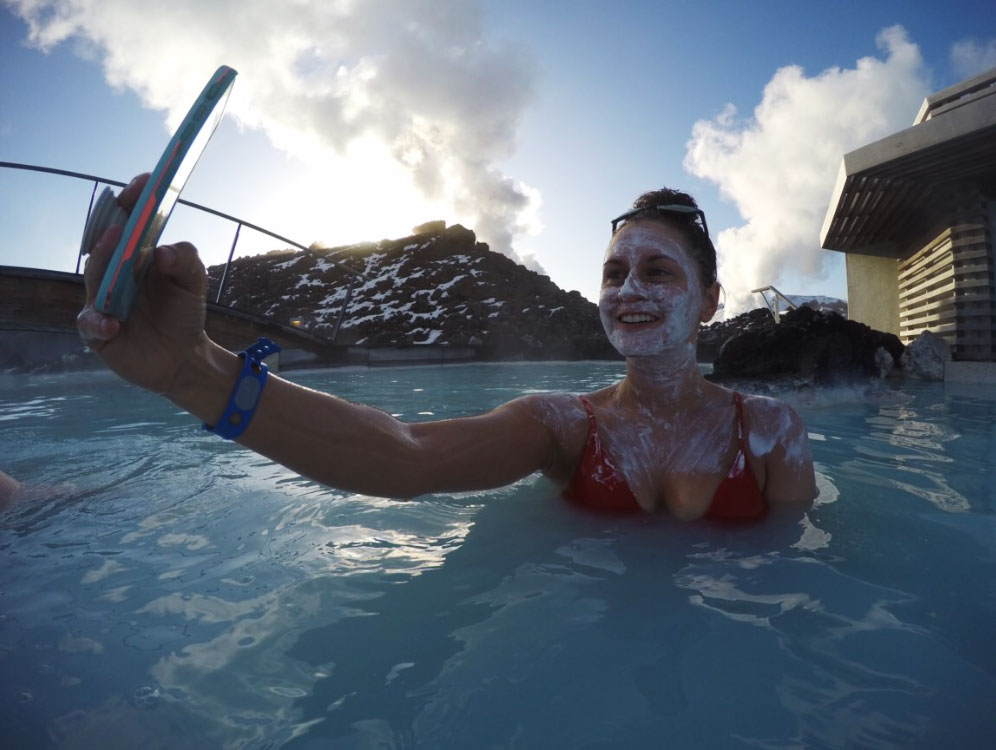 A totally necessary picture of me taking a picture at the Blue Lagoon in Iceland. *Notice the LifeProof case and PopSocket.