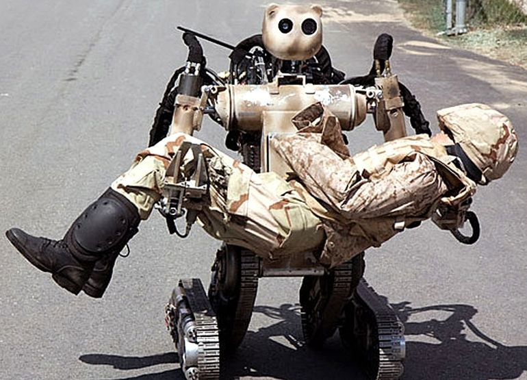 robot carrying wounded soldier