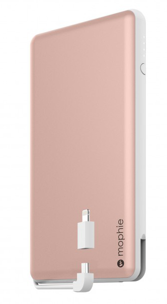The Mophie Powerstation Plus XL, shown in the color Rose Gold.