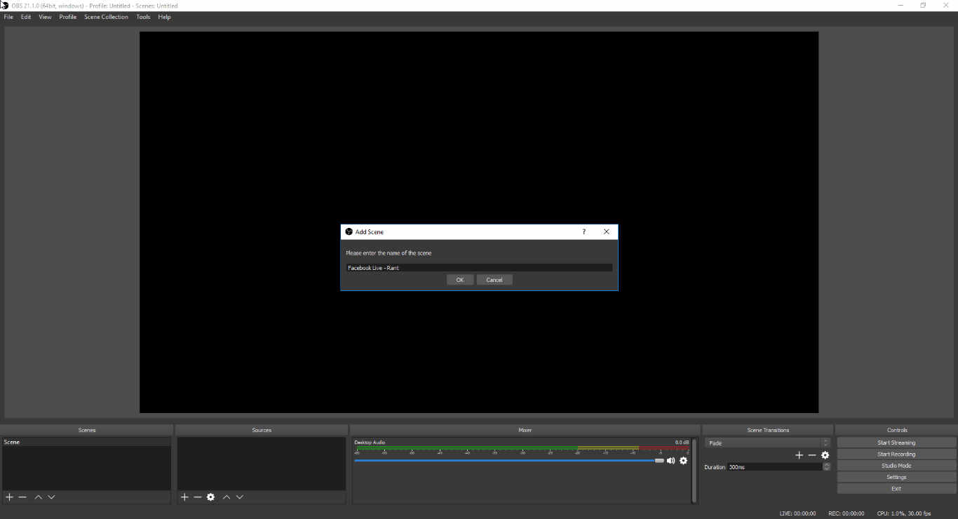 Creating a Scene in OBS to apply input sources to for livestreaming.