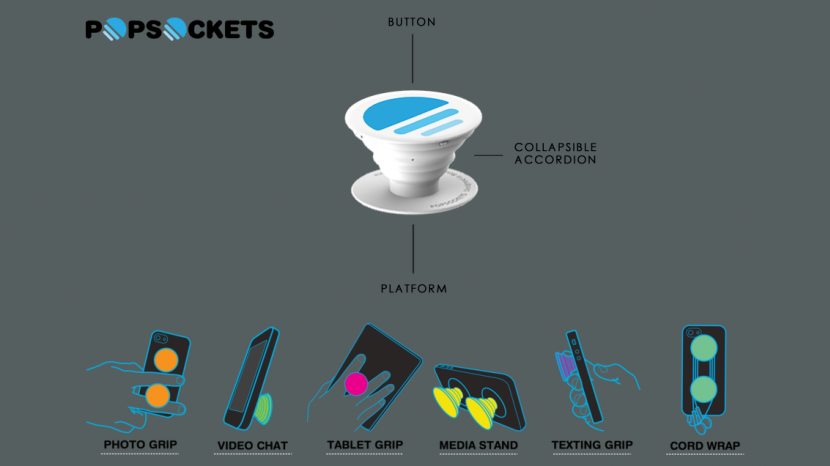 This diagram shows the many uses of PopSockets.
