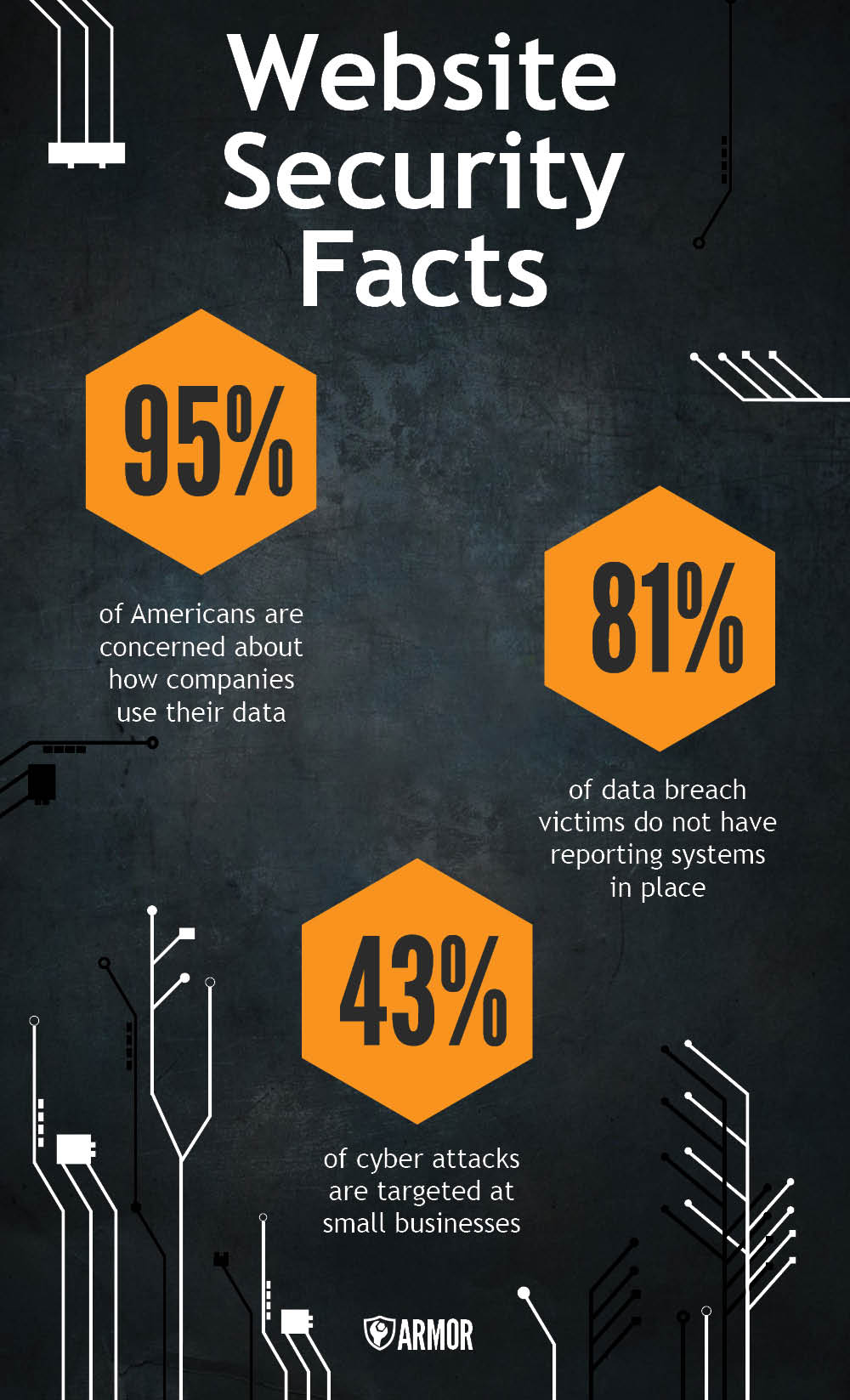 95% of Americans are concernted about how companies user their data. 81% of data breach victims do not have reporting systems in place. 43% of cyber attacks are targeted at small businesses