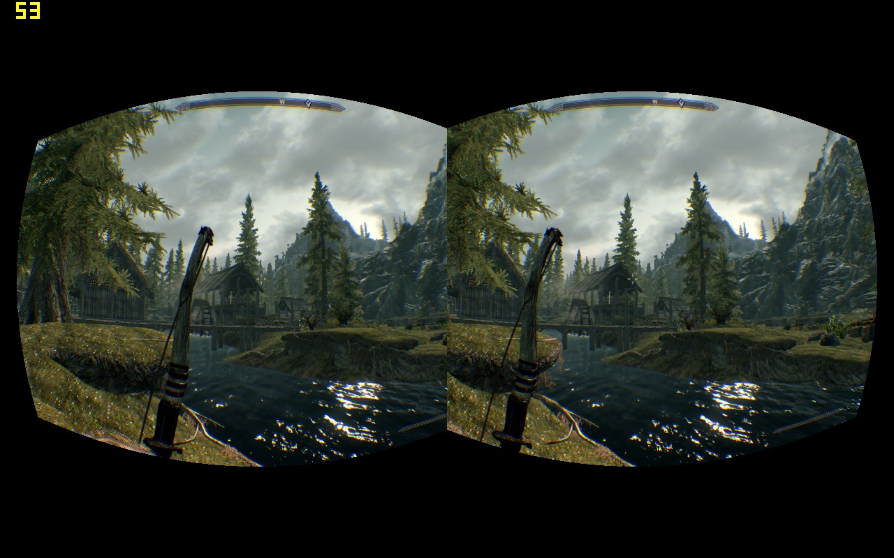 Demonstration of Tridef Stereoscopic 3d drivers working in Side By Side mode in Skyrim