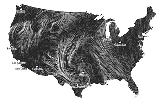 USA Map On Winter Wind Patterns